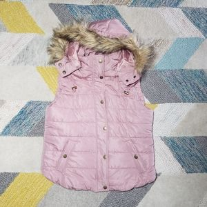 Love Tree Fur Hooded Quilted Puffer Vest LARGE